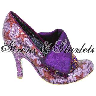 IRREGULAR CHOICE FLICK FLACK PURPLE SEQUIN STAR SHOES