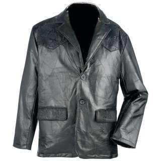 Mens Western Style Black Genuine Leather Sports Jacket M L XL 2X NEW