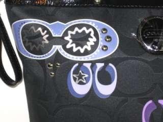 NEW COACH Signature Applique Sequin Tote Bag 17587 & Passport Case