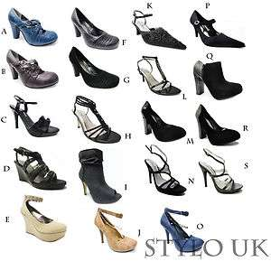 LADIES WOMEN HIGH HEEL BRIDAL PARTY OFFICE CASUAL SUEDE PU CLEARANCE