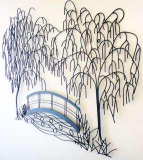 New Metal Wall Art   Weeping Willow Tree Bridge Scene