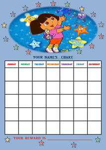 DORA THE EXPLORER personalised Reward Chart + Stickers.