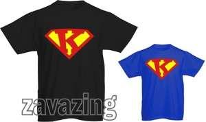 SUPERMAN LOGO INITIAL K T SHIRT HERO FANCY DRESS GIFT