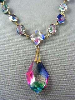 Art Deco Gold P. IRIS Glass Crystal Lavalier Necklace