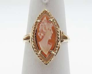 Estate Cameo Lady Carving 10k Yellow Gold Ring Size 5.5 FREE Sizing