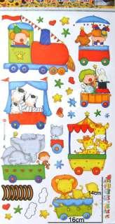 ANIMAL TRAIN Nursery Decor Wall Sticker *FREE P&P