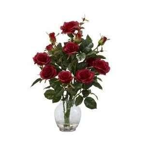 Rose Bush with Vase Silk Flower Arrangement   Nearly Natural   1281 RD