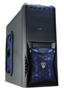 Vantage Midi ATX PC Gaming Tower Computer Case + Blue Led Fans & Card