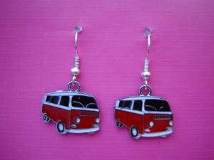 FUNKY RED VW CAMPER VAN EARRINGS CUTE RETRO KITSCH