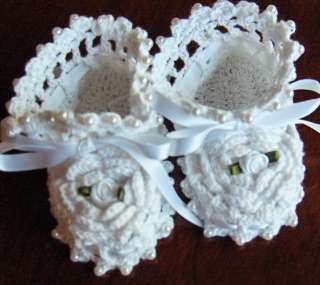 White Crochet Baby Booties Christening Reborn Doll