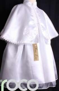 GIRLS WHITE HOLY COMMUNION BAPTISM CAPE ROBE 6mth   5yr