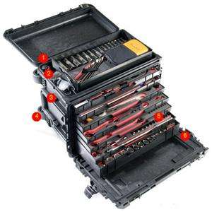 Pelican 0450 Mobile Tool Chest with Wheels & 6 Shallow Drawers, 1 Deep