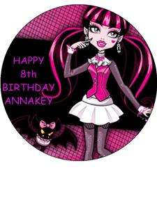 MONSTER HIGH PINK   EDIBLE ICING CAKE TOPPER