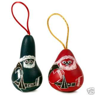Three Christmas Santa Carved Ornaments Gourd Holiday : Christmas