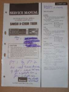 Sansui Service/Repair Manual~A 1200R/1100R Amplifier