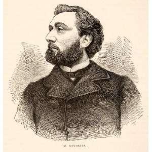 1874 Wood Engraving Portrait Costume Leon Gambetta French