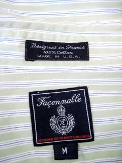 Faconnable Green, Blue & White Stripe 100% Cotton Button Front Shirt