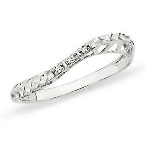 Diamond 10K White Gold Heart Motif Band Ring