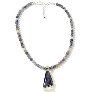 Stone Sterling Silver Pendant with 18 Beaded Necklace