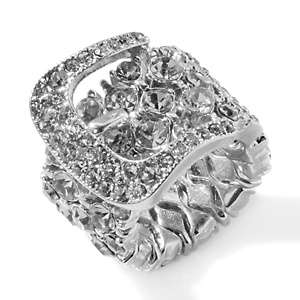 Graziano Beguiling Buckles Crystal Stretch Band Ring