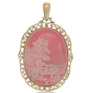 CL by Design Pink Intaglio Quartz Water Lily Bronze Pendant