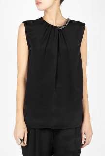 Phillip Lim  Black Sleeveless Draped Silk Top by 3.1 Phillip Lim
