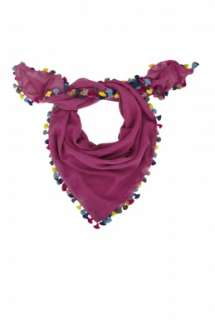 Violet Pom Pom Square Scarf by Paul Smith Accessories   Purple   Buy
