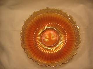 Carnival Glass Bowl Marigold Gold Iridescent Ribbed Rib