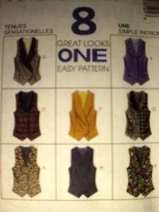 UNCUT McCalls Pattern Princess Seamed Lined Vest 7819