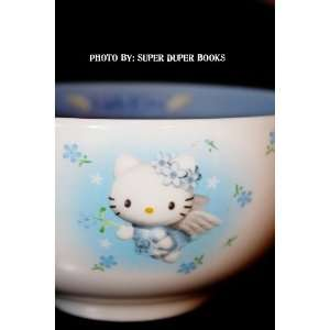 Hello Kitty Bowl Angel Wings White with Blue Flowers Decorative and