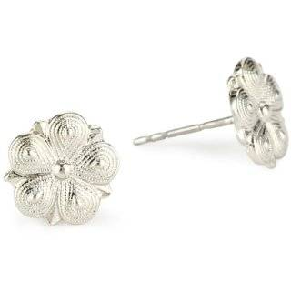 1928 Jewelry Vintage Inspired Silver Star Flower Stud Earrings