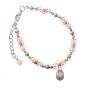 Baby Shoe with Silver Bow Pink Czech Glass Beaded Charm Bracelet