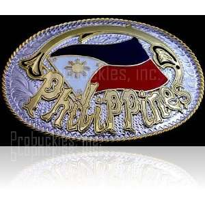 Philippines Gold and Silver Tone Belt Buckle Everything Else