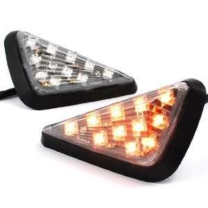 Moto Bike MX Motocross Clear Lens Flush Mount Amber LED Turn Signals