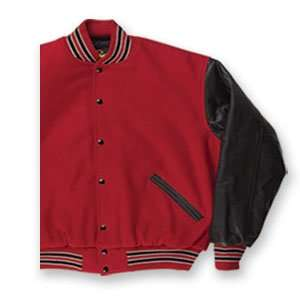 Red and Black   Wool and Leather Varsity Jacket Clothing