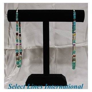 Black Leather Necklace T Bar Jewelry Display Stand 18H