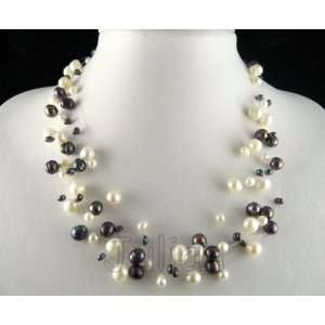17 8mm Black & White Freshwater Pearl Necklace J025