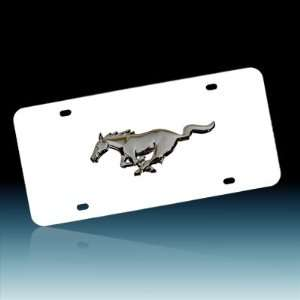 Ford Mustang Black Pearl Pony on Chrome Steel License