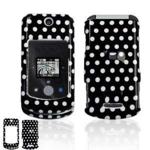 Motorola W755 Cell Phone Black/White Polka Dot Design