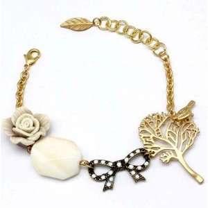 Charm Bracelet Rose Flower Tree Bird Bow Bead Leaf Gold