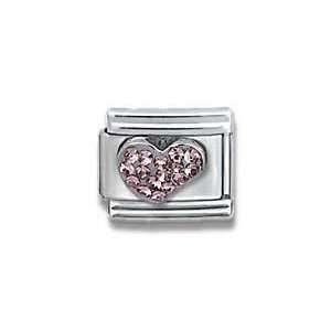 Sterling Silver CZ Heart Birthstone Heart Italian Charm Bracelet Link