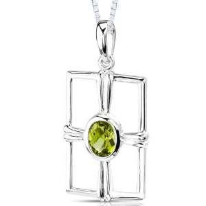 Oval Shape Peridot Sterling Silver Rhodium Finish Pendant Necklace