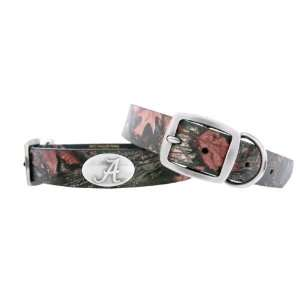 Crimson Tide Camo Leather Concho Dog Collar, Medium