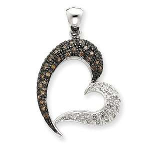 14k White Gold Champagne & White Diamond Heart Pendant Jewelry