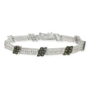 Sterling Silver 1/2ct. TDW Champagne Diamond Link Bracelet Jewelry