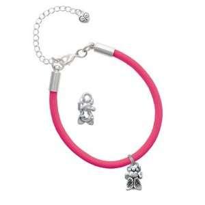 Small Silver Bee Charm on a Hot Pink Malibu Charm Bracelet Jewelry