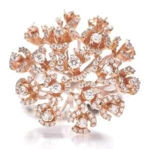 18k White & Yellow Gold Diamond Cluster Ring New: Jewelry