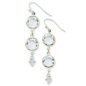 Silver Tone Crystal Bezel Drop Earrings Jewelry