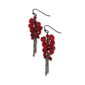 Black plated Red Crystal Beaded Cluster Drop Earrings Jewelry