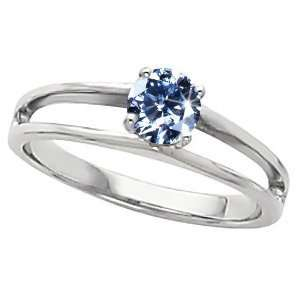 14K Yellow Gold Ring with Fancy Blue Diamond 1/2 carat Brilliant cut